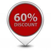 Discount sixty percent pointer icon on white background — Stock Photo