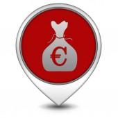 Euro money bag pointer icon on white background — Stok fotoğraf