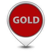 Gold pointer icon on white background — Stock Photo