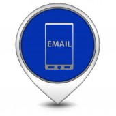 Email pointer icon on white background — 图库照片