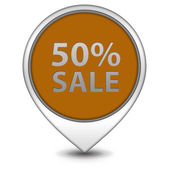 Sale fifty percent pointer icon on white background — Stock Photo