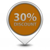 Discount thirty percent pointer icon on white background — Stock Photo