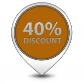 Discount forty percent pointer icon on white background — Stock Photo