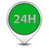 24-stunden-zeiger-symbol auf weißem hintergrund — Stockfoto