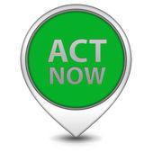 Act now pointer icon on white background — Stock Photo