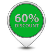 Discount sixty percent pointer icon on white background — Stock Photo