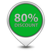 Discount eighty percent pointer icon on white background — Stock Photo
