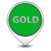 Gold pointer icon on white background — Stock Photo
