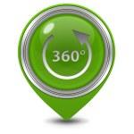 360 degrees pointer icon on white background — Stock Photo #70052161
