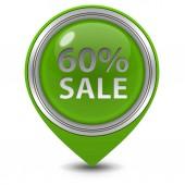 Sale sixty percent pointer icon on white background — Stock Photo