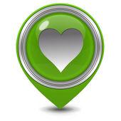 Icona del puntatore cuore su priorità bassa bianca — Foto Stock