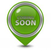 Coming soon pointer icon on white background — Stock Photo