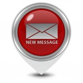 New message pointer icon on white background — Stock Photo