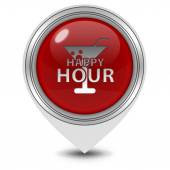 Happy hour pointer icon on white background — Stock fotografie