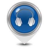 Kulaklık işaretçi simgesi beyaz zemin üzerine — Stok fotoğraf