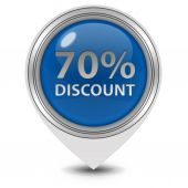 Discount seventy percent pointer icon on white background — Stock Photo