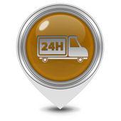 24 godziny wskaźnik ikona na białym tle — Zdjęcie stockowe