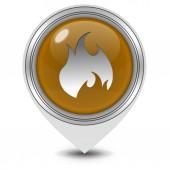 火在白色背景上的指针图标 — 图库照片