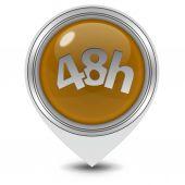 48 hours pointer icon on white background — Stock Photo