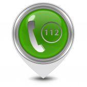 112 pointer icon on white background — Stock Photo