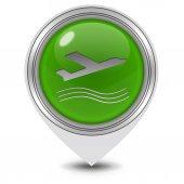 Plane pointer icon on white background — Stock Photo