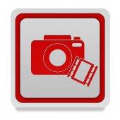カメラ白い背景の四角形のアイコン — ストック写真