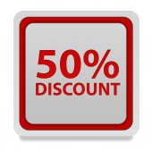 Discount 50 square icon on white background — Stock Photo