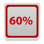 Sixty percent square icon on white background — Stock Photo