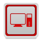 Computer square icon on white background — Stock Photo