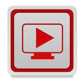 Play square icon on white background — Stock Photo