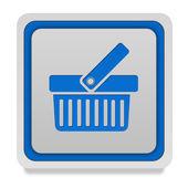 Shopping cart square icon on white background — Stock Photo