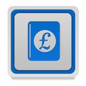 Pound money book square icon on white background — Stock Photo