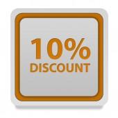 Discount ten percent square icon on white background — Stock Photo
