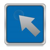 Klicken Sie hier, quadratische Symbol auf weißem Hintergrund — Stockfoto