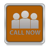 Call now square icon on white background — Stock Photo