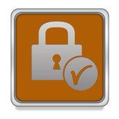 Vierkante pictogram van een hangslot op witte achtergrond — Stockfoto