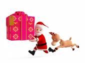 Reindeer and Santa is running — Stock Photo