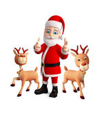 Santa and Reindeer celebrate christmas — Stockfoto