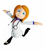 Doctor with running pose — Stok fotoğraf