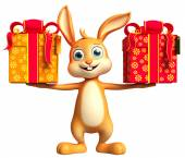 Easter Bunny with giftbox — Stock Photo