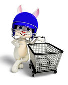 Easter Bunny with helmet and shopping trolley — Stock Photo