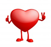 Heart character with win pose — Stock Photo