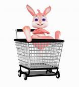 Easter Bunny with shopping trolley — Stock Photo