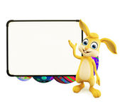 Easter Bunny with eggs with signboard — Stock Photo
