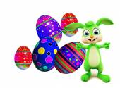 Easter Bunny with colourful eggs — Stock Photo