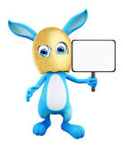 Easter Bunny with sign board — Stock Photo