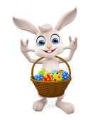 Easter Bunny with eggs basket — Stock Photo