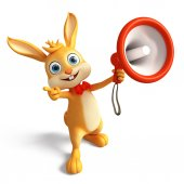 Easter bunny with Loudspeaker — Stock Photo