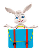 Easter bunny with School bag — Stock Photo