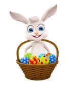 Easter bunny yumurta sepeti ile — Stok fotoğraf